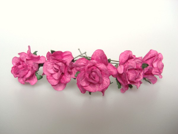 cerise pink wild curly rose hairpins