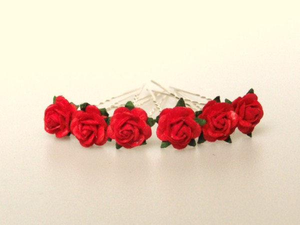 red rose bridal hair flowers, Beautiful flower