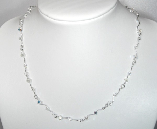 Handmade Swarovski crystal AB necklace with sterling silver clasp