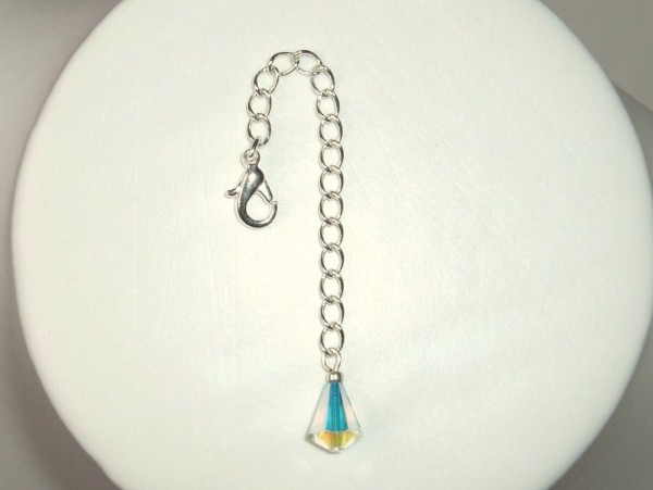 Silver plated Swarovski drop Necklace Extender