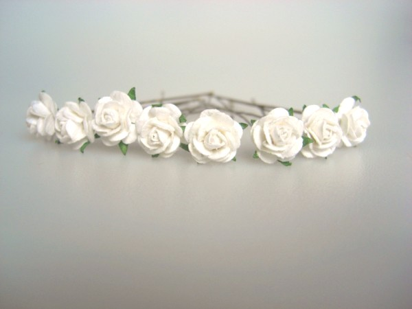 White rose hair flowers ivory mini rose bridal hair flowers white mulberry roses mightylinksfo
