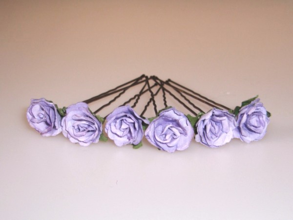lilac parchment rose hairpins