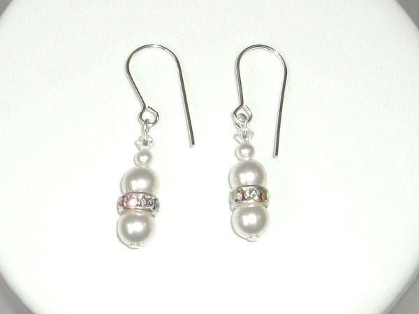 White Swarovski Pearl Earrings with silver plated Crystal rondelles and Sterling Silver earwires