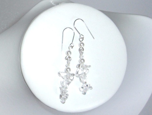Crystal quartz Swarovski pearl and crystal earrings on sterling silver earwires