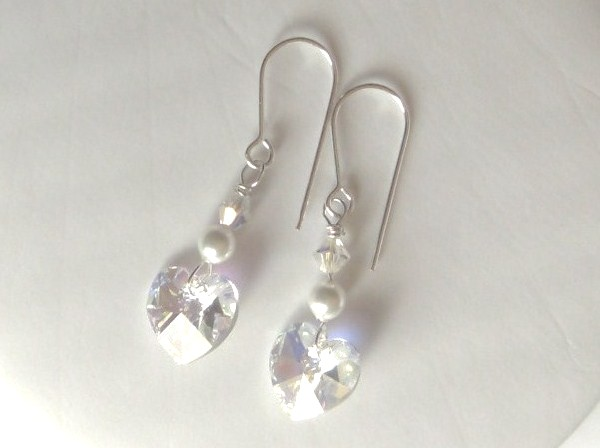 Swarovski crystal AB heart earrings with Swarovski pearls and crystals on Sterling Silver earwires