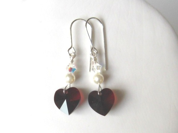 earrings swarovski garnet hearts