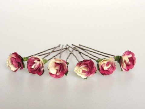 Handcrafted mulberry and cream parchment rose Hairpins for Brides / Bridesmaids