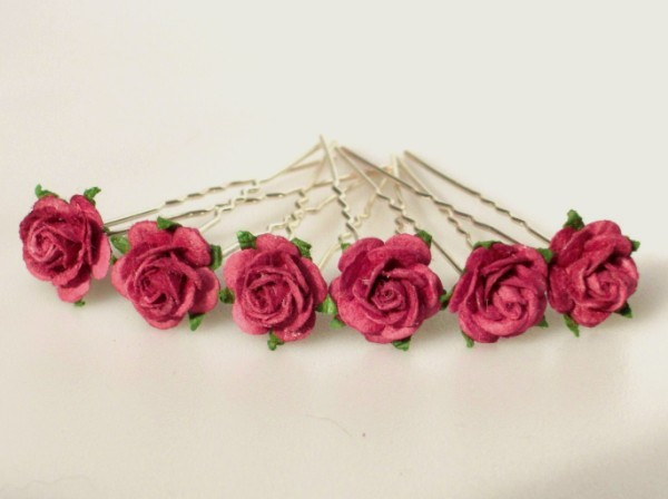 Small burgundy open roses x 6