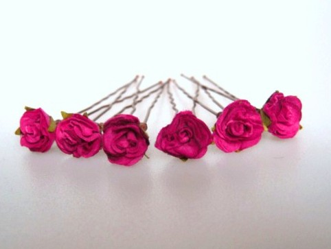Handcrafted cerise parchment rose Hairpins for Brides / Bridesmaids