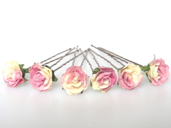 Handcrafted cream and pink parchment rose Hairpins for Brides / Bridesmaids