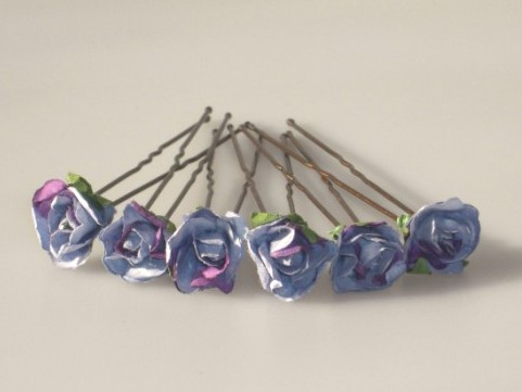 blue and purple two-tone roses 1.3cm x 6