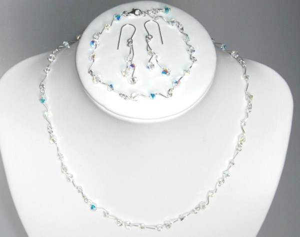 Handmade Swarovski crystal wirework necklace,bracelet,earring set