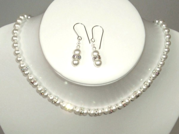 White Swarovski pearl necklace and earrings set with rondelles