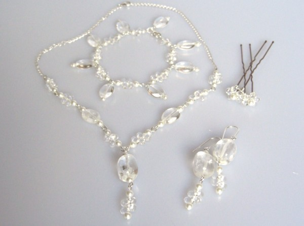 Crystal quartz and Swarovski pearl necklace bracelet, earring set