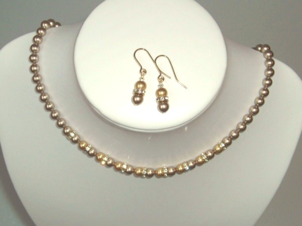Bronze and gold Swarovski pearl necklace, earrings set with crystal rondelles