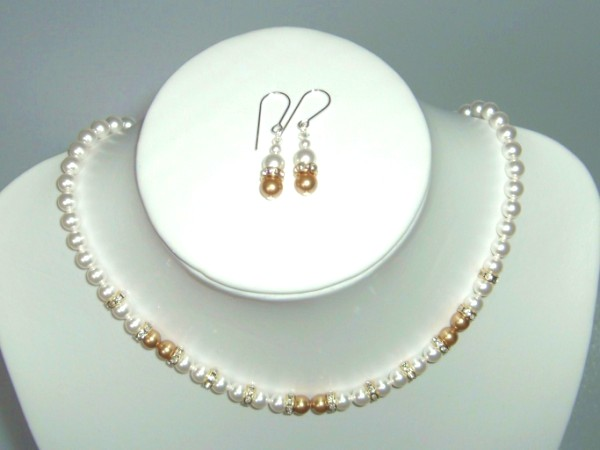 White and gold Swarovski pearl necklace, earrings set with rondelles and sterling silver clasp/earwires