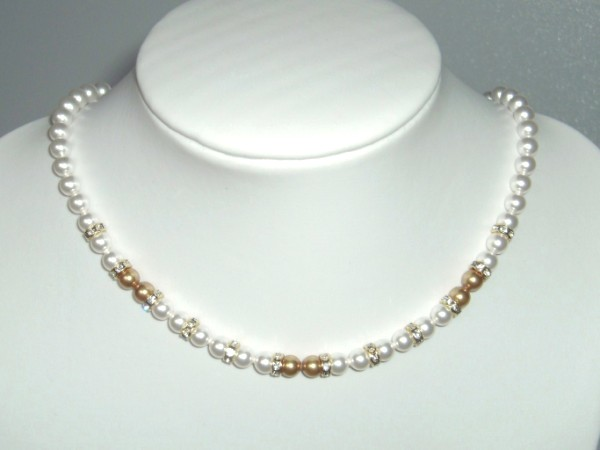 Creamy white and gold Swarovski pearl bridal necklace with sterling silver clasp