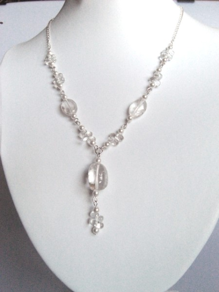 Quartz and Swarovski pearl neclace with sterling silver clasp