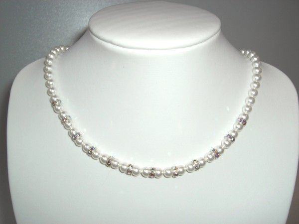 White Swarovski pearl necklace with silver plated crystal rondelles