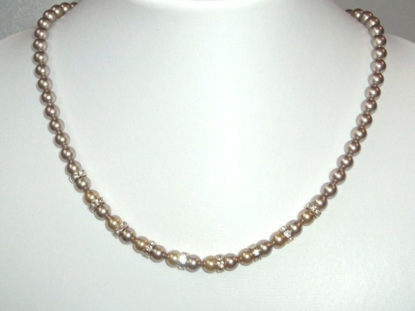 Bronze and gold Swarovski pearl necklace with crystal rondelles