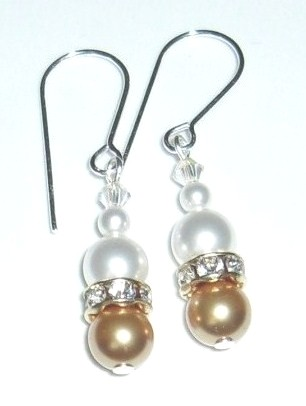 Creamy white and gold Swarovski Pearl Bridal Earrings on Sterling Silver ear wires