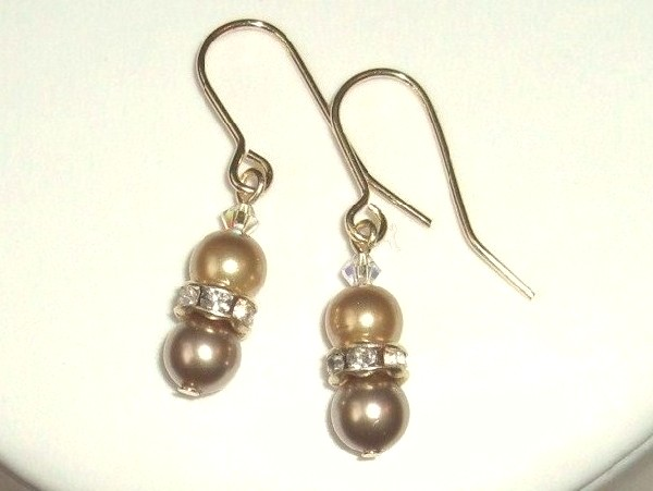 Bronze and gold Swarovski Pearl Bridal Earrings with gold plated Crystal rondelles