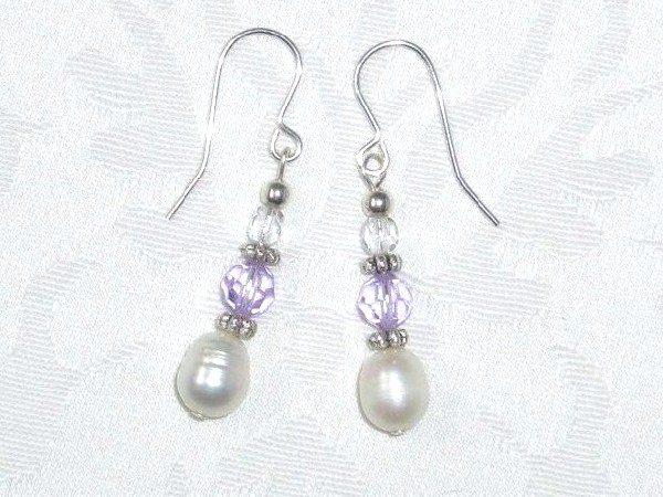 handmade freshwater pearl and violet crystal earrings on silver earwires