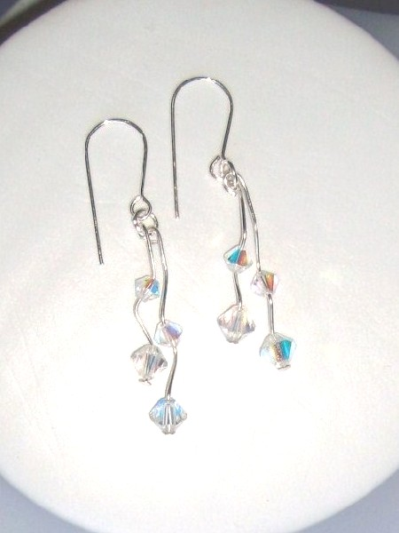 Handmade Swarovski crystal wirework earrings on sterling silver earwires