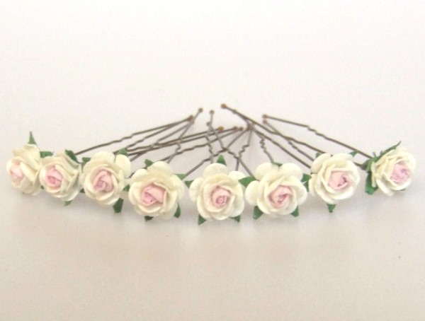Ivory and pink mini roses on fine hairpins