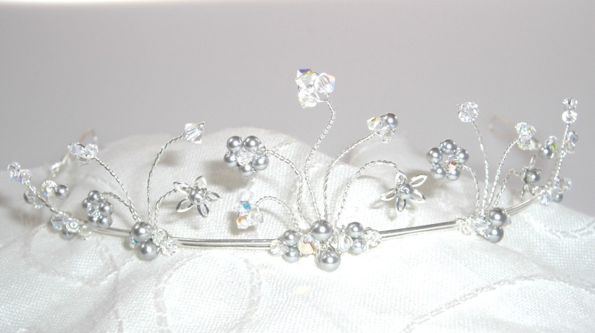 Alicia tiara with silver pearls