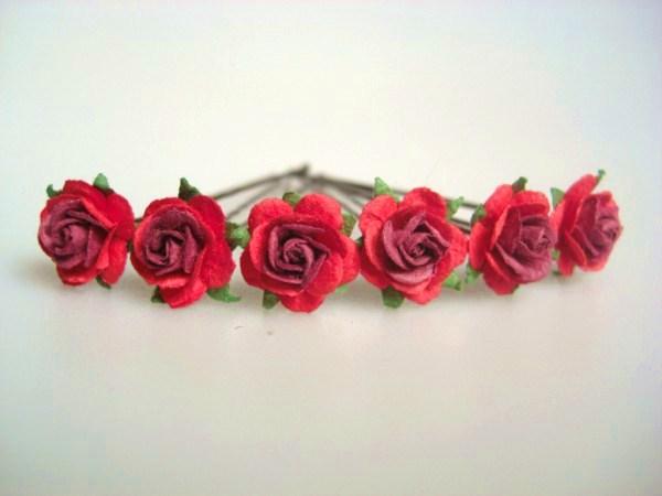 red rose bridal hair flowers, Beautiful flower
