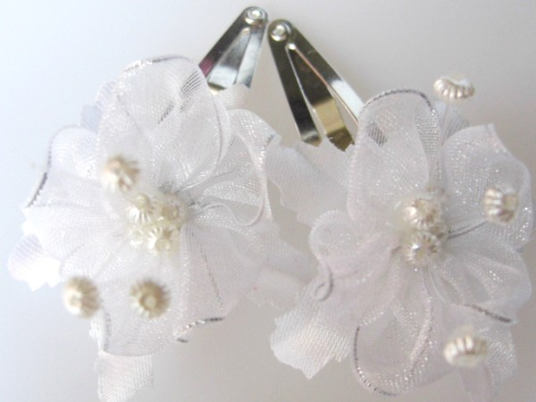 White and silver fancy hair flowers clips mightylinksfo