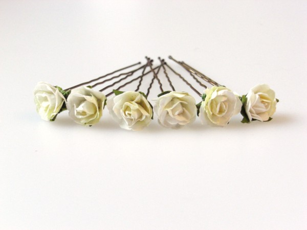 white and cream  parchment rose bridal hair flowers
